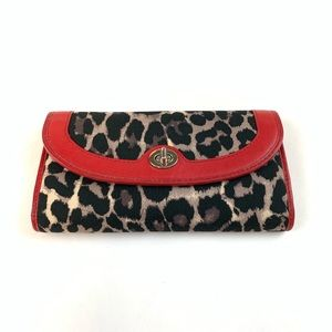 Coach Womens Wallet Trifold Ocelot/Leopard Animal